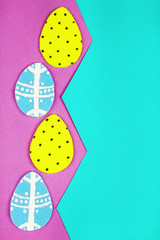 Felt Easter eggs on craft paper background