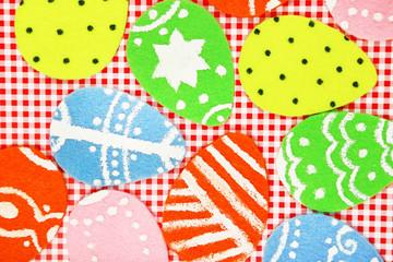 Felt Easter eggs on craft paper background
