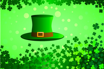 Vector illustration. St. Patrick's Day hat, four leaves