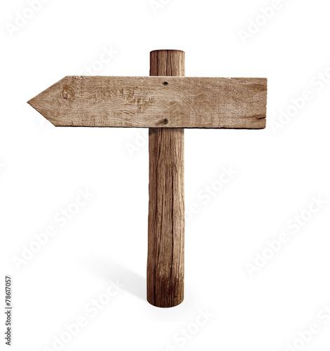 Old Wooden Left Arrow Road Sign Isolated Stockfotos En