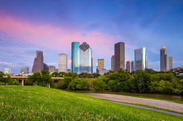 Wall Mural - Houston Texas  skyline at sunset twilight from park lawn