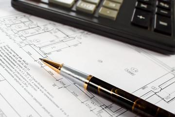 Pen, calculator, drawing