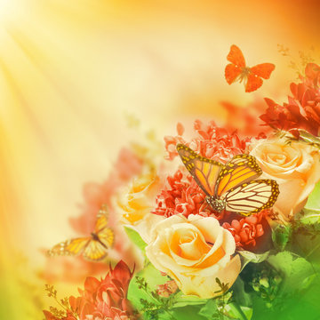 Bouquet of yellow roses, butterfly