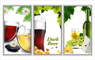Set Of Banners Depicting Various Beverages: Beer, Wine And Tea.
