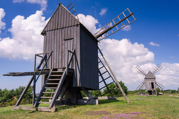 Oland Island windmills in summer season
