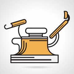 Flat yellow vector icon for gynecology chair
