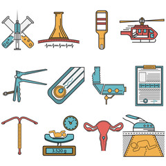 Flat vector icons set for obstetrics