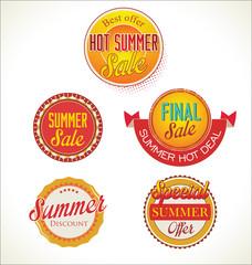 Set of vector summer sales labels
