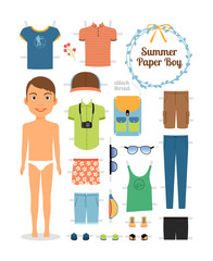 Paper doll boy in summer clothes and shoes