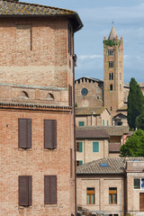Fototapete - Old Residential and church in Siena,Tusany,Italy