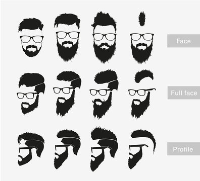 hairstyles with a beard in the face, full face and profile