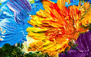 Abstract background. Oil painting - flowers