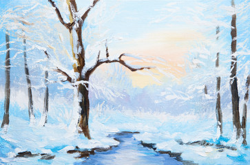 oil painting winter landscape, frozen river in the forest, color
