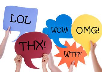 Many Speech Balloons With Abbreviations