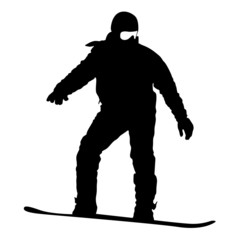 Black silhouette  snowboarder on white background. Vector illust