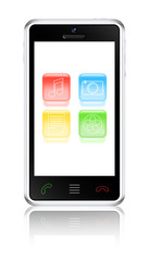 Touchscreen smartphone with multimedia icons. Vector illustratio