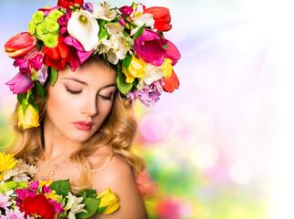 Spring portrait. Beauty hairstyle with flowers - fototapety na wymiar