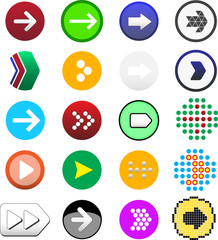 Web colored buttons with arrows