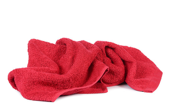 Red towel isolated on white background