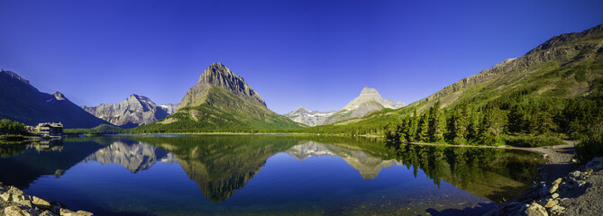 Canvas Prints Dark blue Swiftcurrent Lake