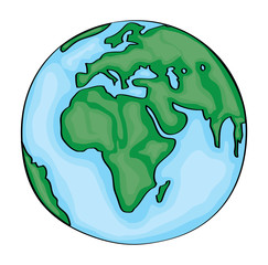 Hand drawn cute cartoon earth europe. Vector