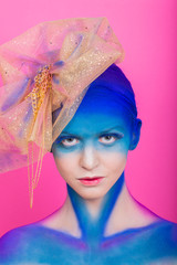 Creative makeup. Airbrush. Blue, indigo