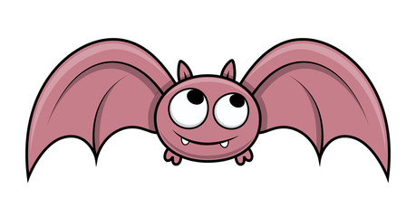 Funny Cute Small Bat - Halloween Vector Illustration