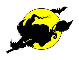 Witch Flying on Full Moon - Silhouettes - Halloween Vector