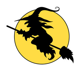 Silhouettes of Flying Witch on Broom - Halloween Vector