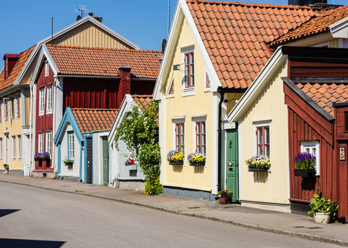 Street and buildings in the town Kalmar in Sweden.