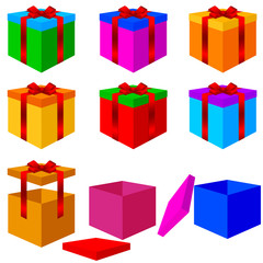 Collection of colorful box christmas gifts with ribbons. Vector