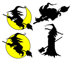 Set of Halloween Witch Vector Silhouettes