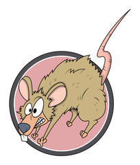 Scared Mouse Vector Cartoon - Halloween Vector Illustration