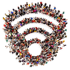 Large crowd or group of people forming Wi Fi symbol