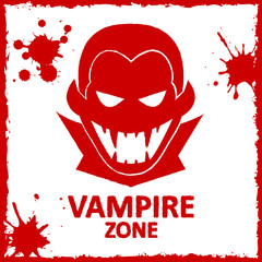 Vector wall graffiti. Vampire zone. Red color. Format eps 10