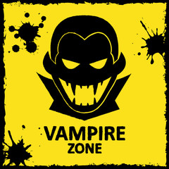 Vector wall graffiti. Vampire zone. Yellow color. Format eps 10