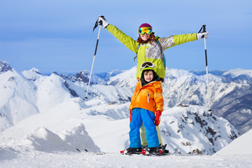Happy winter ski vacation with children