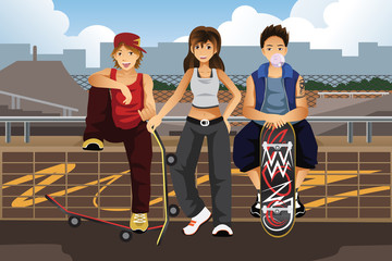 Young people hanging out outside with skateboard