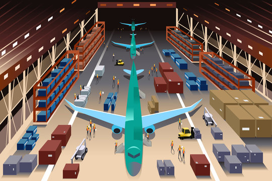 Workers in an airplane factory