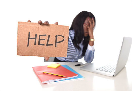black African American frustrated woman working in stress