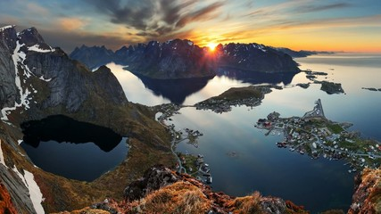 Wall Mural - Mountain coast landscape at sunset, Norway motion