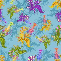 Vintage pattern of colored spring flowers