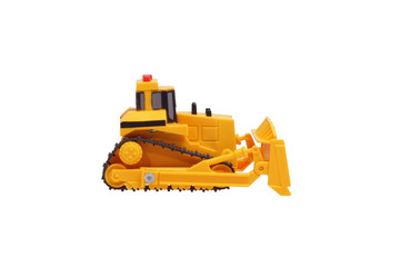 Toy bulldozer. Side view.