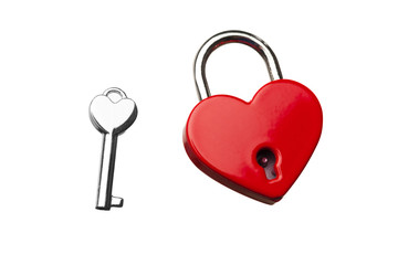 heart shaped closed lock with key, isolated on white