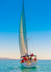 Sailing boat during regatta at Saronic gulf in Athens Greece