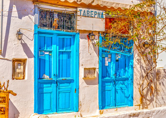 old taverna at Hydra island in Saronic gulf in Greece. HDR
