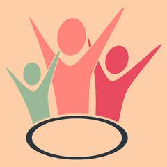 happy people symbol, icon, hands up