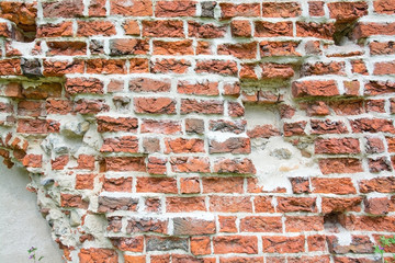 Brick wall from medieval 13th century brick ruin, Ahus, Sweden