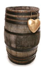 old vintage oak wine barrel with heart