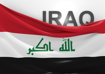 Iraq flag and country name